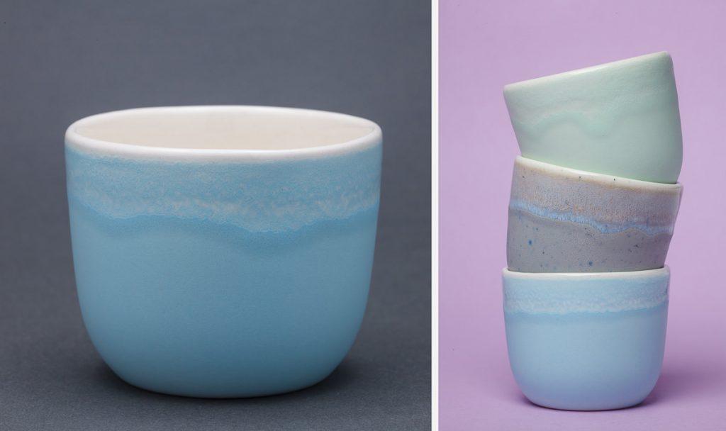 Фотографии керамических чашек на сером и розовом фонах