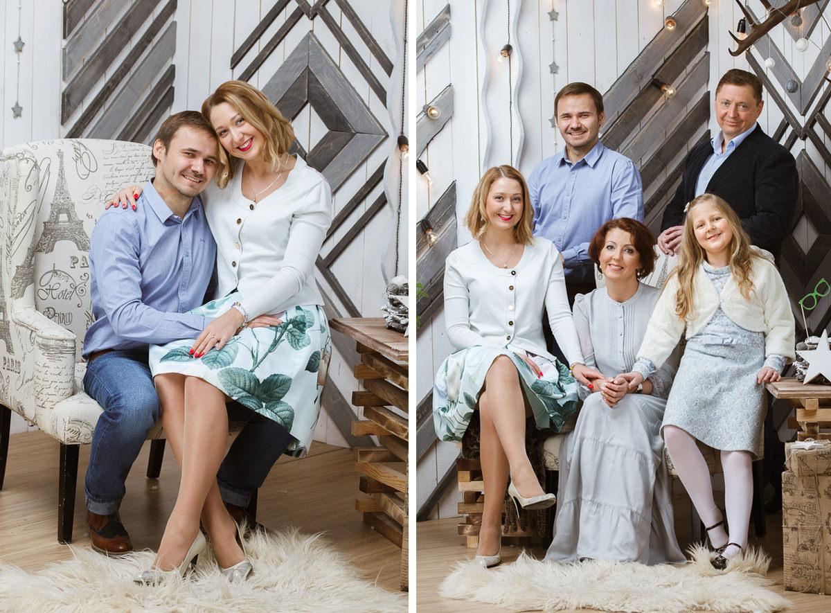 Семейная съемка в интерьерной фотостудии