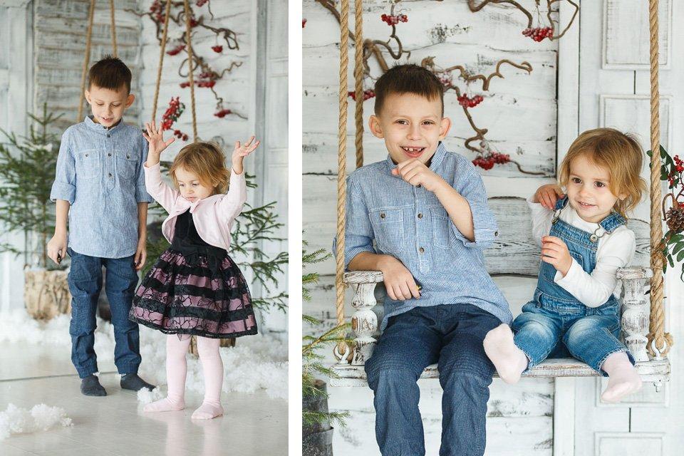 Праздничные фотографии брата и сестры в студии