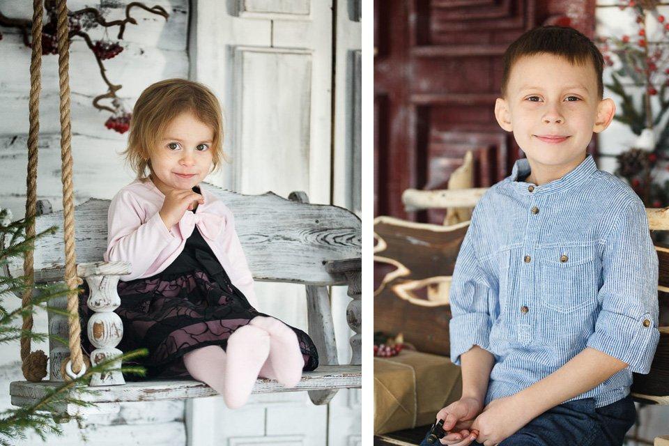 Детская фотосессия для брата и сестры в новогодних локациях