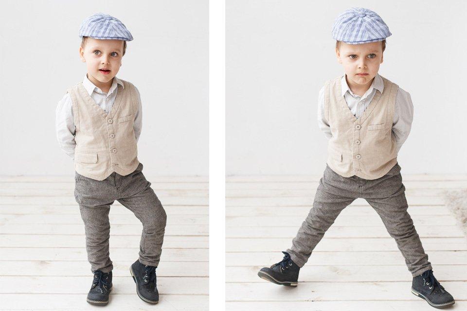 Красивые детские фотографии в светлой интерьерной студии